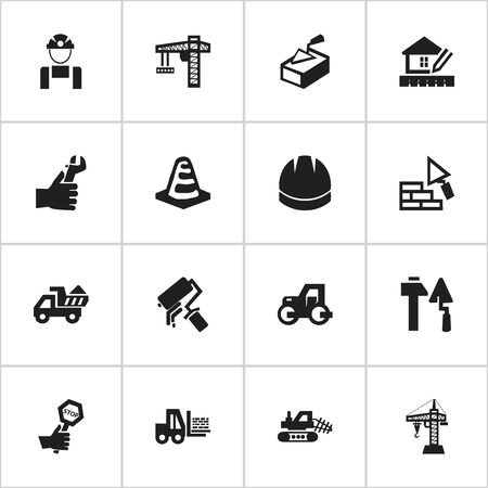 hard drive: Set Of 16 Editable Building Icons. Includes Symbols Such As Endurance, Spatula, Construction Tools And More. Can Be Used For Web, Mobile, UI And Infographic Design. Illustration
