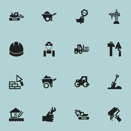 excavate: Set Of 16 Editable Construction Icons. Includes Symbols Such As Caterpillar, Oar, Home Scheduling And More. Can Be Used For Web, Mobile, UI And Infographic Design.