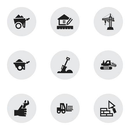 Set Of 9 Editable Structure Icons. Includes Symbols Such As Facing, Home Scheduling, Mule And More. Can Be Used For Web, Mobile, UI And Infographic Design.