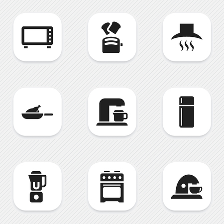 originator: Set Of 9 Editable Cook Icons. Includes Symbols Such As Stove, Drink Maker, Cup And More. Can Be Used For Web, Mobile, UI And Infographic Design. Illustration