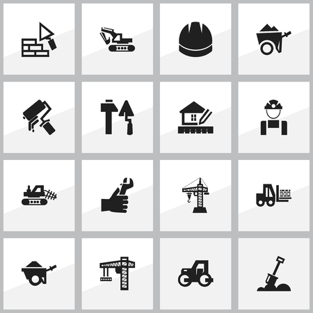 ampoule: Set Of 16 Editable Building Icons. Includes Symbols Such As Home Scheduling, Excavation Machine, Construction Tools And More. Can Be Used For Web, Mobile, UI And Infographic Design. Illustration