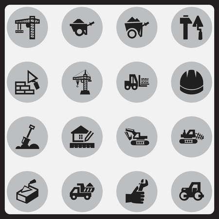 mason: Set Of 16 Editable Building Icons. Includes Symbols Such As Hands , Handcart , Spatula. Can Be Used For Web, Mobile, UI And Infographic Design.