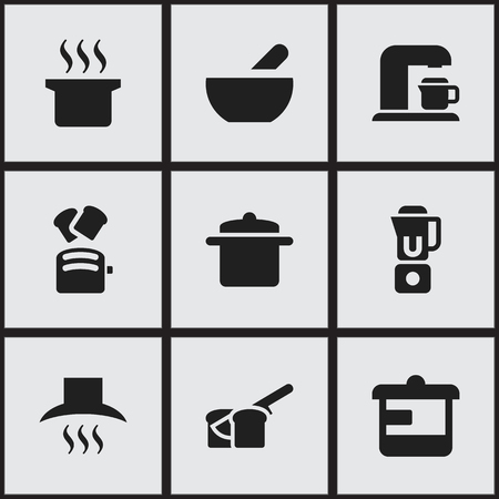 bread maker: Set Of 9 Editable Cooking Icons. Includes Symbols Such As Drink Maker, Soup Pot, Slice Bread And More. Can Be Used For Web, Mobile, UI And Infographic Design.