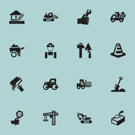 tractor warning: Set Of 16 Editable Construction Icons. Includes Symbols Such As Mule, Caterpillar, Notice Object And More. Can Be Used For Web, Mobile, UI And Infographic Design. Illustration
