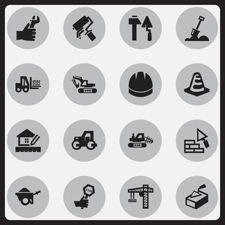 Set Of 16 Editable Construction Icons. Includes Symbols Such As Excavation Machine, Notice Object, Home Scheduling And More. Can Be Used For Web, Mobile, UI And Infographic Design.
