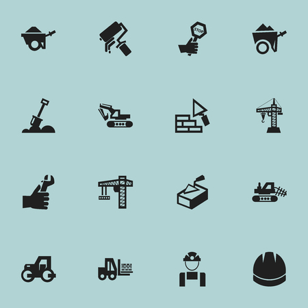 excavate: Set Of 16 Editable Construction Icons. Includes Symbols Such As Facing, Endurance, Truck And More. Can Be Used For Web, Mobile, UI And Infographic Design.