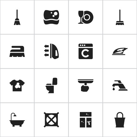 Set Of 16 Editable Cleaning Icons. Includes Symbols Such As Laundress, Faucet, Unclean Blouse And More. Can Be Used For Web, Mobile, UI And Infographic Design.