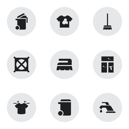 Set Of 9 Editable Hygiene Icons. Includes Symbols Such As Dustbin, No Laundry, Sweep And More. Can Be Used For Web, Mobile, UI And Infographic Design.
