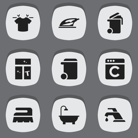 electric broom: Set Of 9 Editable Hygiene Icons. Includes Symbols Such As Appliance, Dustbin, Washing Glass And More. Can Be Used For Web, Mobile, UI And Infographic Design.