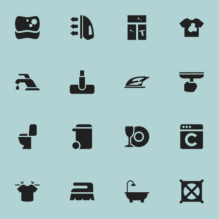 electric broom: Set Of 16 Editable Hygiene Icons. Includes Symbols Such As No Laundry, Sweep, Dustbin And More. Can Be Used For Web, Mobile, UI And Infographic Design. Illustration