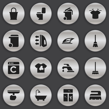 Set Of 16 Editable Cleanup Icons. Includes Symbols Such As Unclean Blouse, Faucet, Dustbin And More. Can Be Used For Web, Mobile, UI And Infographic Design.