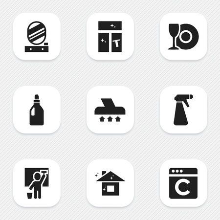 pulverizer: Set Of 9 Editable Dry-Cleaning Icons. Includes Symbols Such As Laundry Detergent, Pulverizer, Wall Mirror And More. Can Be Used For Web, Mobile, UI And Infographic Design.