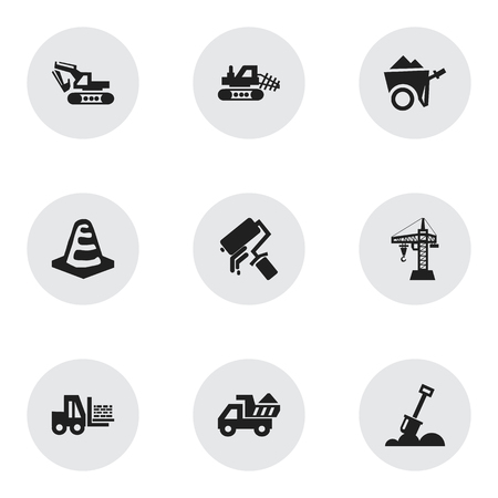 Set Of 9 Editable Structure Icons. Includes Symbols Such As Elevator, Handcart , Mule. Can Be Used For Web, Mobile, UI And Infographic Design.