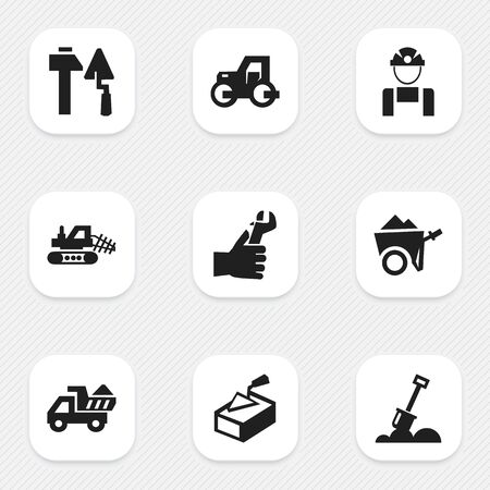 ampoule: Set Of 9 Editable Structure Icons. Includes Symbols Such As Mule, Handcart , Spatula. Can Be Used For Web, Mobile, UI And Infographic Design.