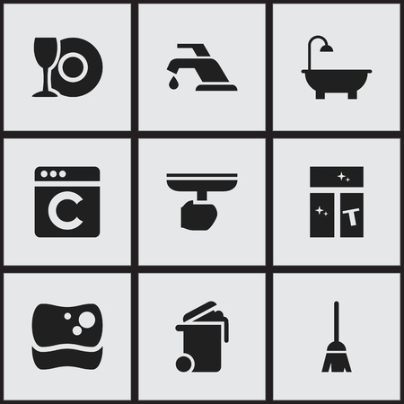 Set Of 9 Editable Hygiene Icons. Includes Symbols Such As Container, Washing Tool, Brush And More. Can Be Used For Web, Mobile, UI And Infographic Design. Illustration