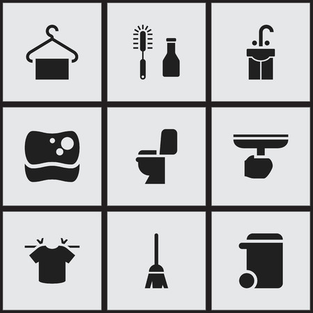 Set Of 9 Editable Dry-Cleaning Icons. Includes Symbols Such As Hanger, Dustbin, Restroom And More. Can Be Used For Web, Mobile, UI And Infographic Design.