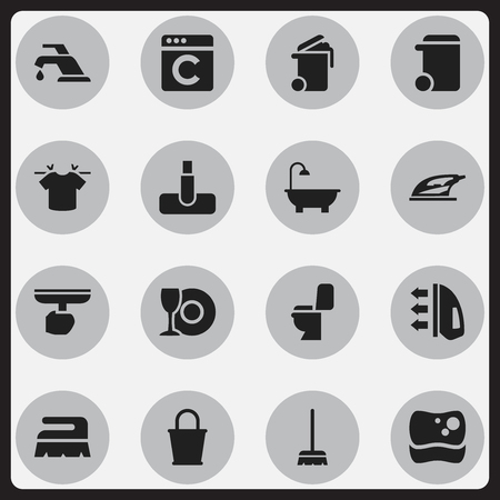 whisk broom: Set Of 16 Editable Cleanup Icons. Includes Symbols Such As Laundress, Steam, Container And More. Can Be Used For Web, Mobile, UI And Infographic Design.