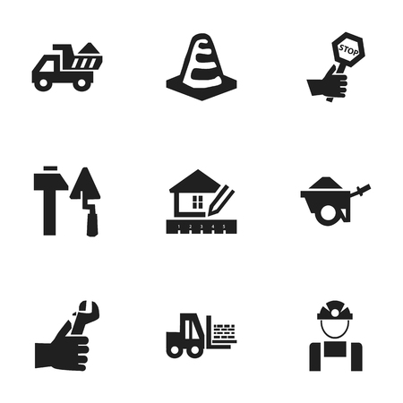 mason: Set Of 9 Editable Construction Icons. Includes Symbols Such As Camion, Trolley, Notice Object And More. Can Be Used For Web, Mobile, UI And Infographic Design.