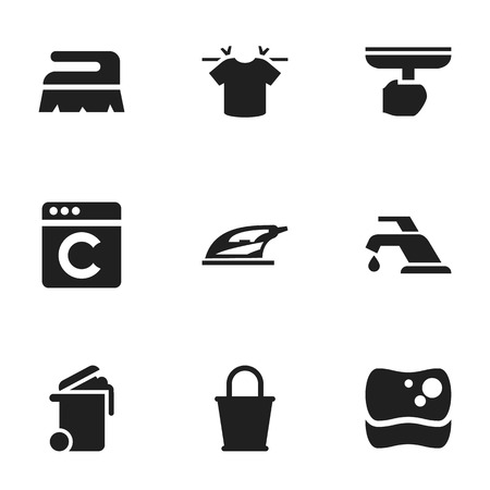 Set Of 9 Editable Hygiene Icons. Includes Symbols Such As Washing Tool, Container, Appliance And More. Can Be Used For Web, Mobile, UI And Infographic Design.