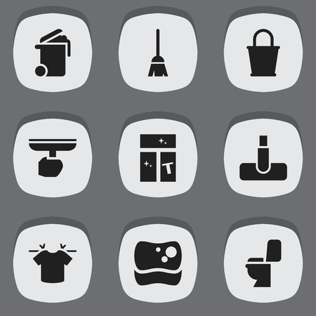 Set Of 9 Editable Cleanup Icons. Includes Symbols Such As Restroom, Clean T-Shirt, Brush And More. Can Be Used For Web, Mobile, UI And Infographic Design.