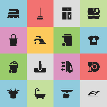 Set Of 16 Editable Cleanup Icons. Includes Symbols Such As Hoover, Clean T-Shirt, Dustbin And More. Can Be Used For Web, Mobile, UI And Infographic Design. Illustration
