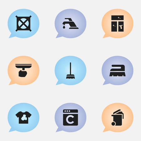 electric broom: Set Of 9 Editable Dry-Cleaning Icons. Includes Symbols Such As Laundress, Brush, Unclean Blouse And More. Can Be Used For Web, Mobile, UI And Infographic Design.
