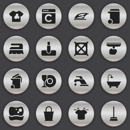 Set Of 16 Editable Cleaning Icons. Includes Symbols Such As Unclean Blouse, Faucet, Brush And More. Can Be Used For Web, Mobile, UI And Infographic Design.