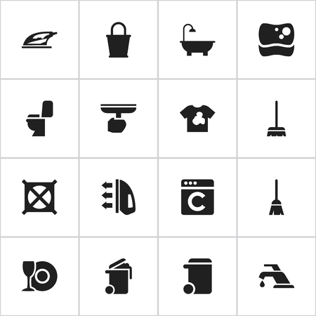 Set Of 16 Editable Hygiene Icons. Includes Symbols Such As Appliance, Faucet, Unclean Blouse And More. Can Be Used For Web, Mobile, UI And Infographic Design.