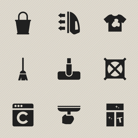 Set Of 9 Editable Dry-Cleaning Icons. Includes Symbols Such As Broomstick, Hoover, Brush And More. Can Be Used For Web, Mobile, UI And Infographic Design. Illustration