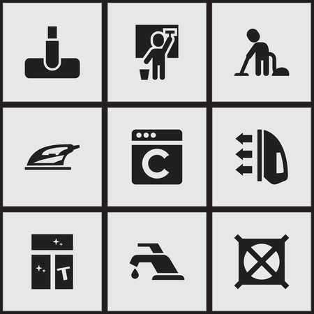 Set Of 9 Editable Hygiene Icons. Includes Symbols Such As Appliance, Laundress, No Laundry And More. Can Be Used For Web, Mobile, UI And Infographic Design.
