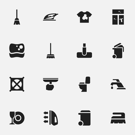 Set Of 16 Editable Dry-Cleaning Icons. Includes Symbols Such As Steam, Restroom, No Laundry And More. Can Be Used For Web, Mobile, UI And Infographic Design.
