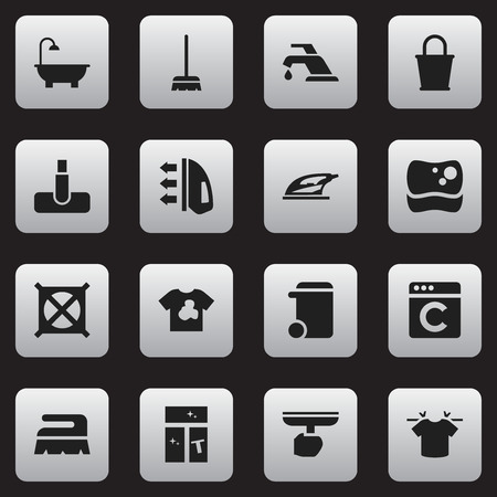 whisk broom: Set Of 16 Editable Cleanup Icons. Includes Symbols Such As Laundress, Unclean Blouse, Whisk And More. Can Be Used For Web, Mobile, UI And Infographic Design.
