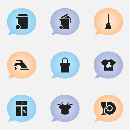 Set Of 9 Editable Cleanup Icons. Includes Symbols Such As Clean T-Shirt, Pail, Container And More. Can Be Used For Web, Mobile, UI And Infographic Design.