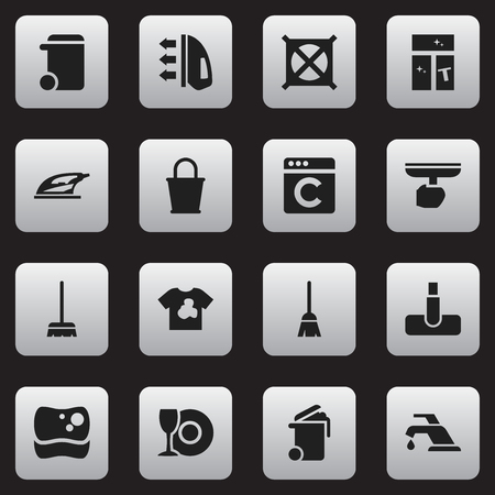 Set Of 16 Editable Cleanup Icons. Includes Symbols Such As Pail, Unclean Blouse, Washing Glass And More. Can Be Used For Web, Mobile, UI And Infographic Design.