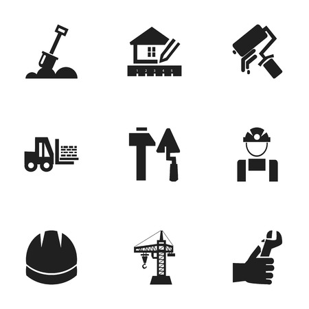 hammer head: Set Of 9 Editable Construction Icons. Includes Symbols Such As Construction Tools, Employee, Truck And More. Can Be Used For Web, Mobile, UI And Infographic Design.