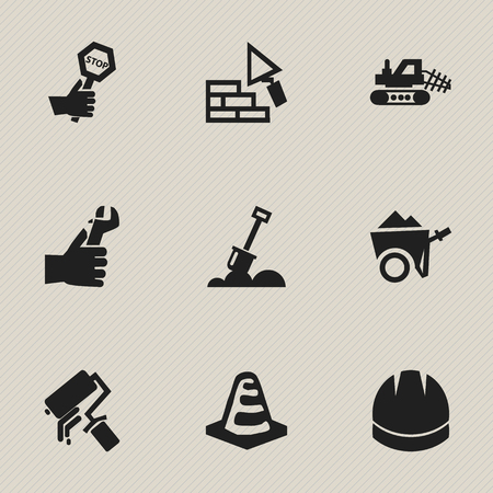 Set Of 9 Editable Building Icons. Includes Symbols Such As Hardhat , Handcart , Scrub. Can Be Used For Web, Mobile, UI And Infographic Design. Illustration