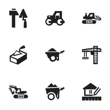 Set Of 9 Editable Building Icons. Includes Symbols Such As Spatula, Excavation Machine, Caterpillar And More. Can Be Used For Web, Mobile, UI And Infographic Design.