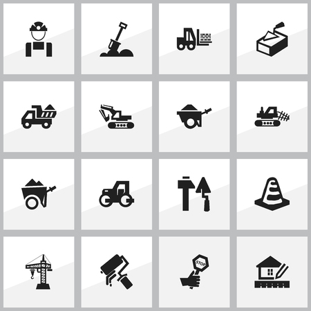 Set Of 16 Editable Building Icons. Includes Symbols Such As Handcart , Scrub, Employee. Can Be Used For Web, Mobile, UI And Infographic Design.