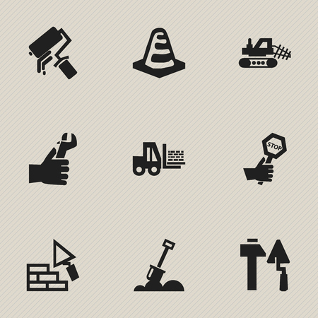 Set Of 9 Editable Construction Icons. Includes Symbols Such As Endurance, Oar, Notice Object And More. Can Be Used For Web, Mobile, UI And Infographic Design. Illustration
