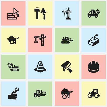 camion: Set Of 16 Editable Structure Icons. Includes Symbols Such As Notice Object, Excavation Machine, Caterpillar And More. Can Be Used For Web, Mobile, UI And Infographic Design.