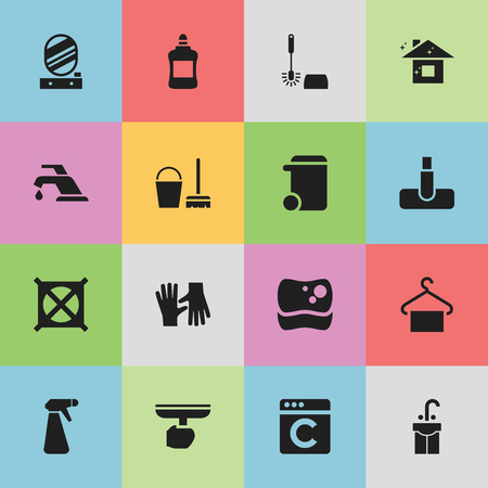 clothing rack: Set Of 16 Editable Hygiene Icons. Includes Symbols Such As Laundress, Cleaner, Pure Home And More. Can Be Used For Web, Mobile, UI And Infographic Design.