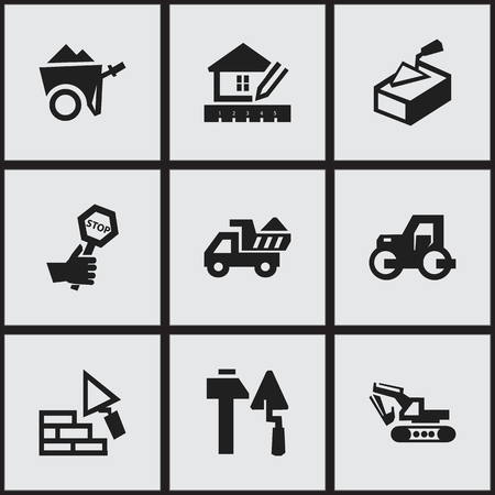 camion: Set Of 9 Editable Construction Icons. Includes Symbols Such As Construction Tools, Camion, Excavation Machine And More. Can Be Used For Web, Mobile, UI And Infographic Design. Illustration
