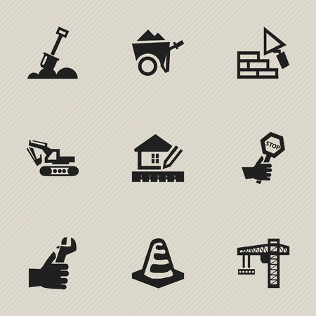 tractor warning: Set Of 9 Editable Construction Icons. Includes Symbols Such As Home Scheduling, Oar, Facing And More. Can Be Used For Web, Mobile, UI And Infographic Design.