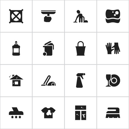 Set Of 16 Editable Cleanup Icons. Includes Symbols Such As Washing Glass, Exhauster, Container And More. Can Be Used For Web, Mobile, UI And Infographic Design.