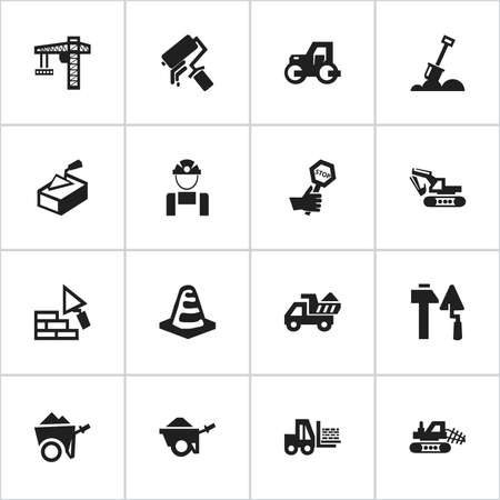 Set Of 16 Editable Structure Icons. Includes Symbols Such As Scrub, Mule, Excavation Machine And More. Can Be Used For Web, Mobile, UI And Infographic Design.  イラスト・ベクター素材
