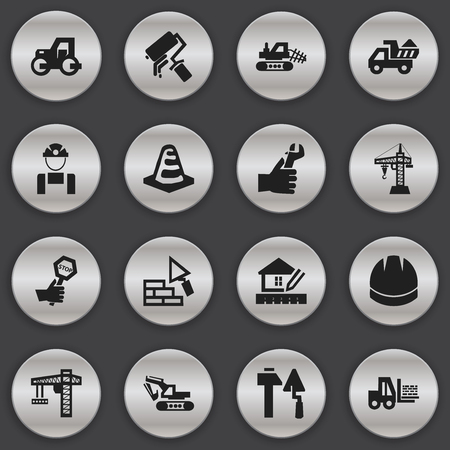 mason: Set Of 16 Editable Construction Icons. Includes Symbols Such As Facing, Lifting Equipment, Truck And More. Can Be Used For Web, Mobile, UI And Infographic Design.