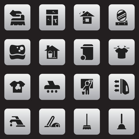 Set Of 16 Editable Hygiene Icons. Includes Symbols Such As Rubber Drain, Unclean Blouse, Clean T-Shirt And More. Can Be Used For Web, Mobile, UI And Infographic Design. Illustration