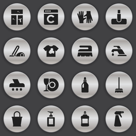 squeegee: Set Of 16 Editable Cleanup Icons. Includes Symbols Such As Whisk, Vacuum Cleaner, Plate And More. Can Be Used For Web, Mobile, UI And Infographic Design.