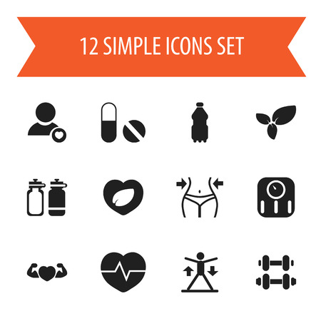 calorie: Set Of 12 Editable Lifestyle Icons. Includes Symbols Such As Strong Love, Scales, Fitness Drink And More.