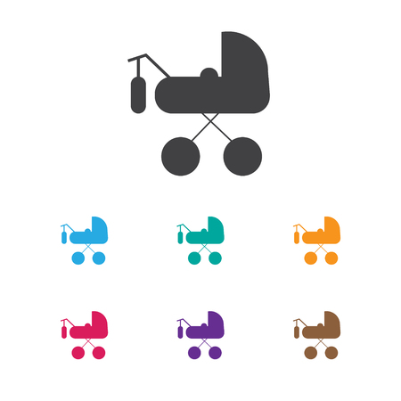 Vector Illustration Of Baby Symbol On Buggy Icon. Premium Quality Isolated Carriage Element In Trendy Flat Style. Ilustração